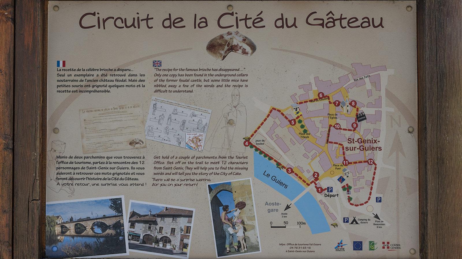 Die Route des Stadtspazierganges durch Saint-Genix. Foto: Hilke Maunder