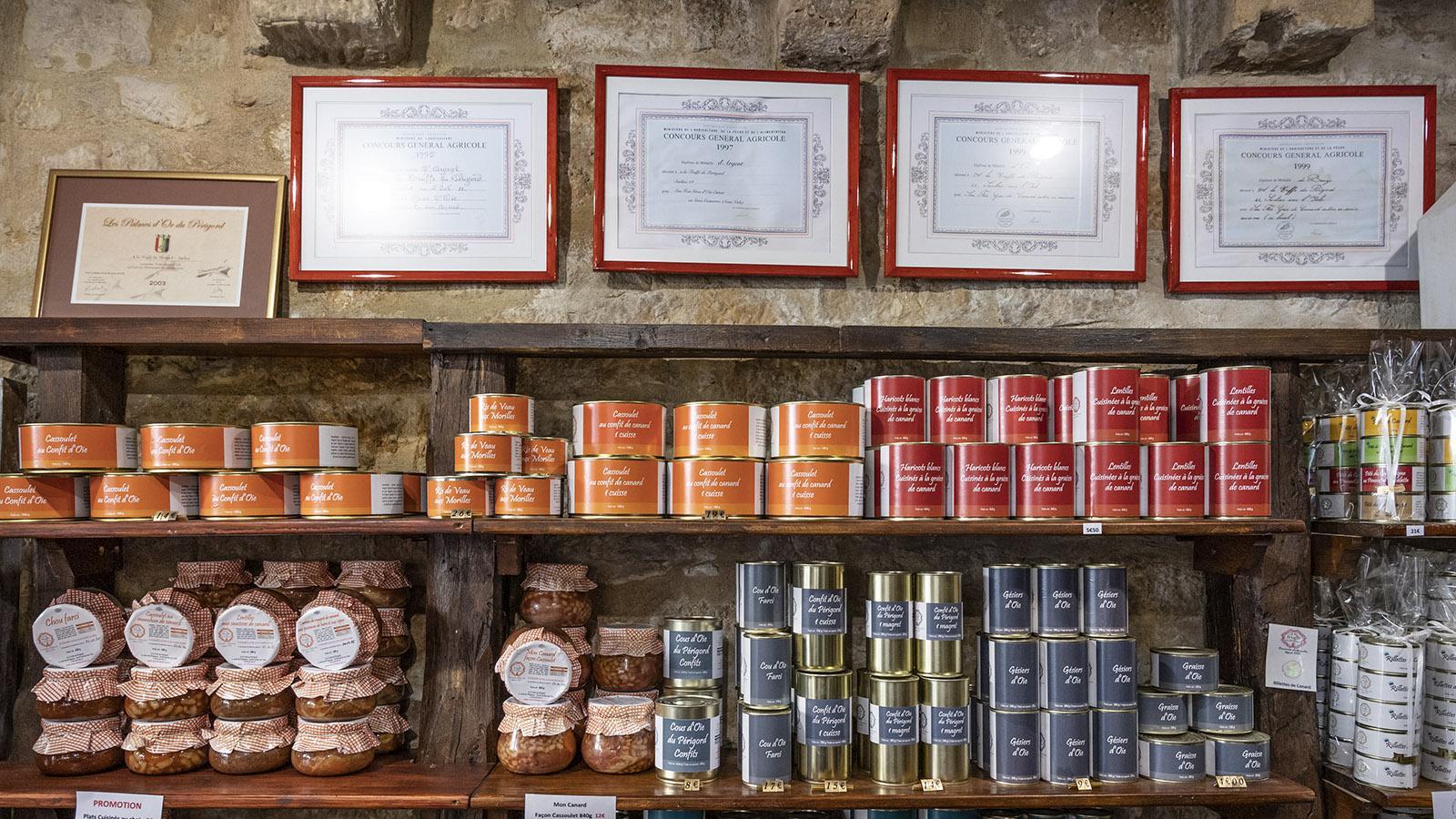 Sarlat, Viele Produkte sind prämiert. Foto: Hilke Maunder