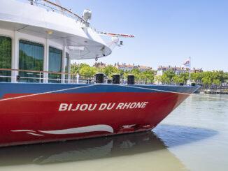 MS Bijou du Rhône am Kai. Foto: Hilke Maunder