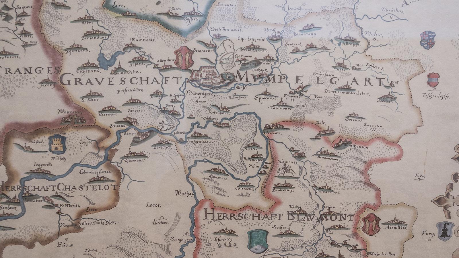 Die Grafschaft Mömpelgard auf einer Karte des Château-Musée. Foto: Hilke Maunder