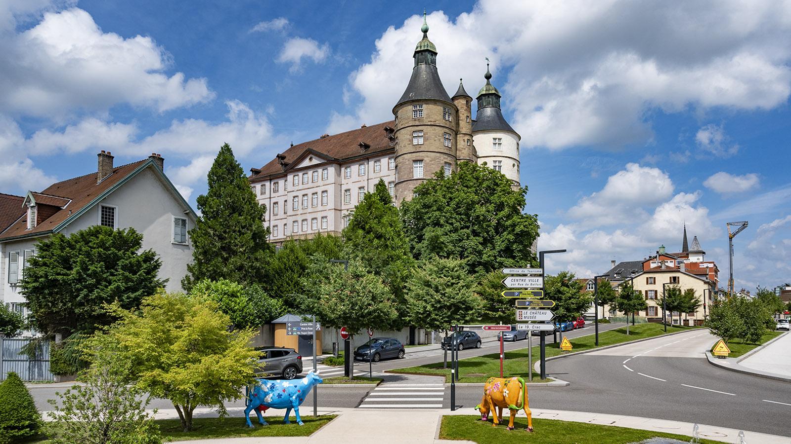 Blick auf das Schloss von Montbéliard vom Office de Tourisme aus. Foto: Hilke Maunder