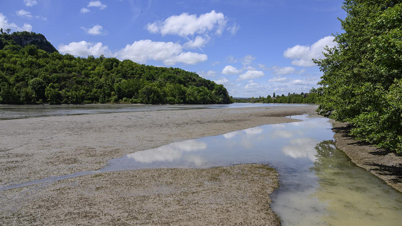 Im Sommer zeigen sich die Sandbänke bei La Bruyère. Foto: Hilke Maunder