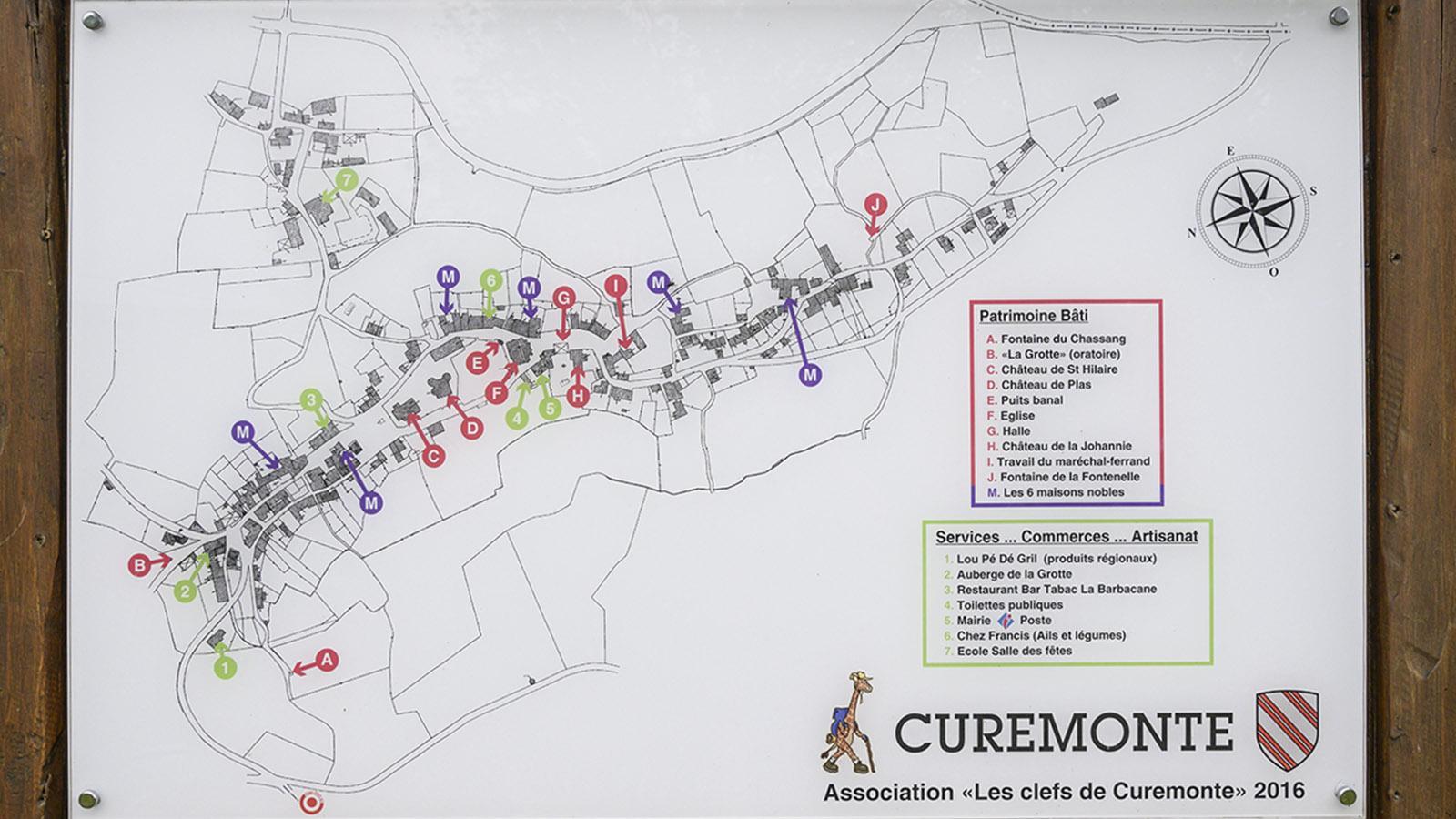 Auf dieser Karte stellt der Verein <em>Les Clefs de Curemonte</em> neben dem Bauerbe auch die Künstlerateliers, Geschäfte und Lokale vor. Copyright: <em>Les Clefs de Curemonte</em>