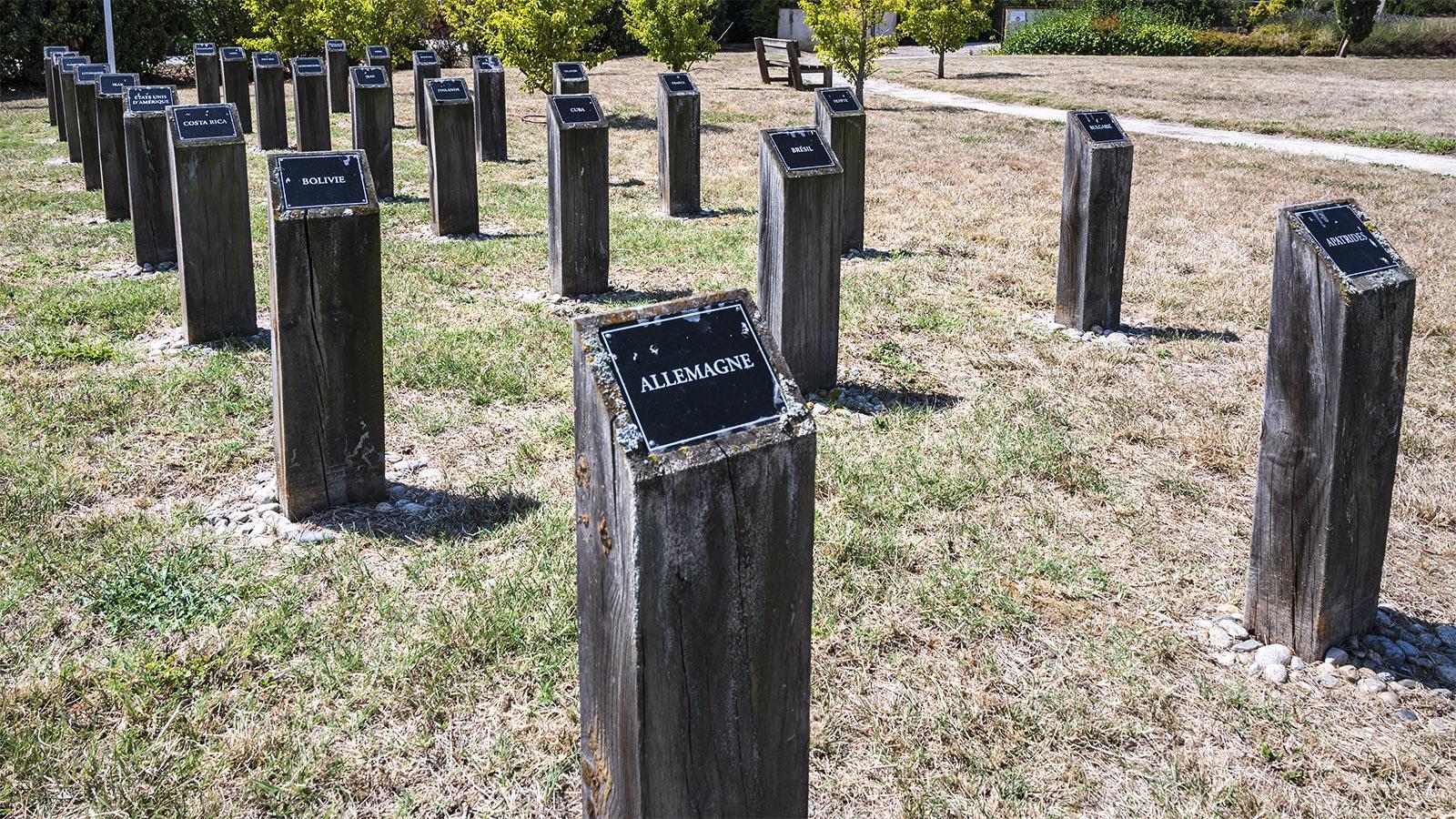 Für jede Nation steht eine Säule auf dem Friedhof der Gedenkstätte. Foto: Hilke Maunder