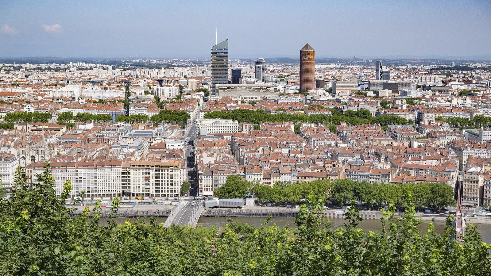 Der Blick auf Lyon vom Aussichtspunkt neben der Basilika Notre-Dame de Fourvière. Foto: Hilke Maunder
