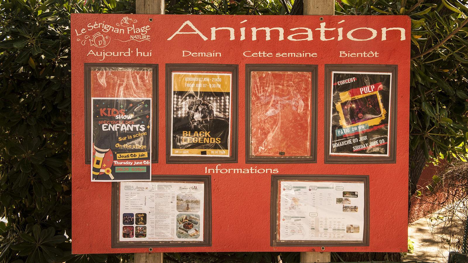 FKK in Frankreich: das Animationsprogramm von Le Sérignan Club Nature. Foto: Hilke Maunder