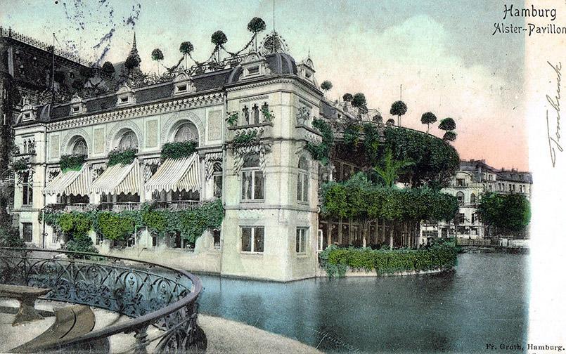 Der Alsterpavillon in Hamburg um 1905