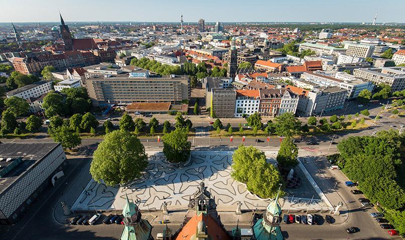 Blick von der Rathauskuppel in Hannover
