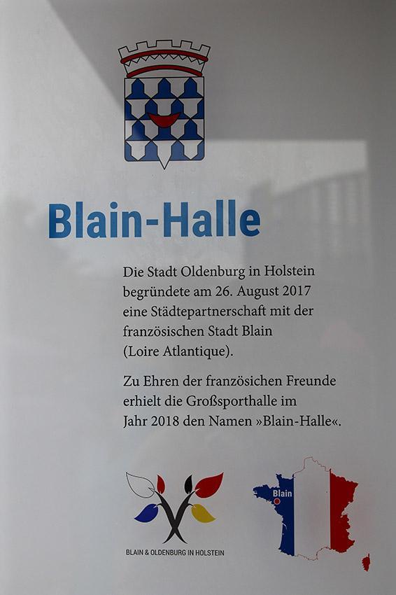 Die Großsporthalle heißt jetzt Blain-Halle. Foto: Stadt Oldenburg in Holstein.