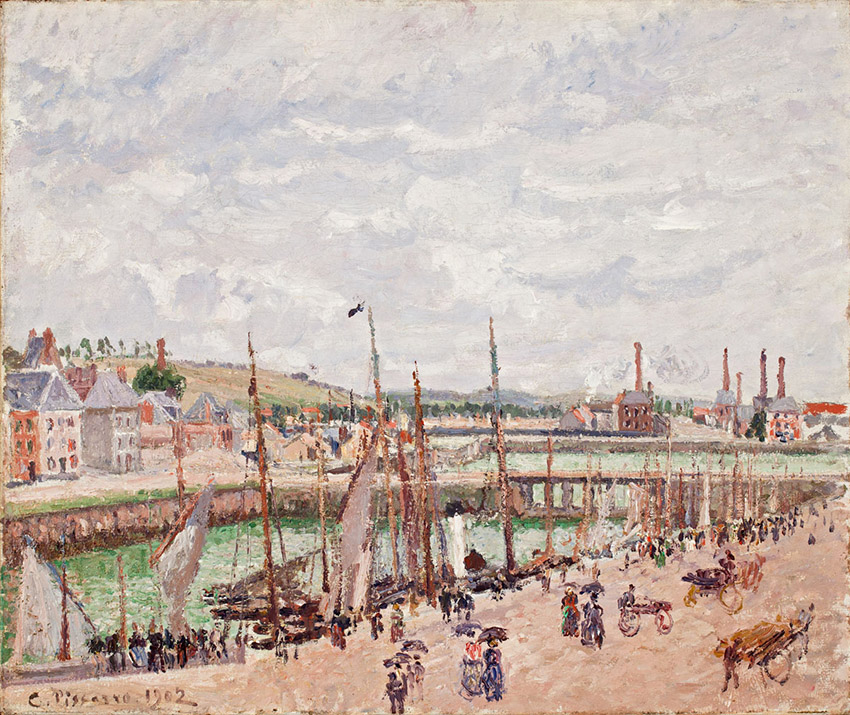 Camille PISSARRO (1831-1903), Inner Harbour, Dieppe, Grey Weather, Rain, 1902, oil on canvas. © Worcester Art Museum, Stoddard Acquisition Fund in memory of Mr and Mrs Robert W. Stoddard