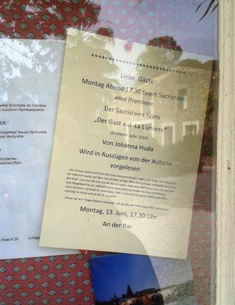 Die Ankündigung einer Lesung mit Johanna Huda. Foto: Johanna Huda