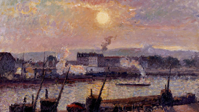 Camille PISSARRO (1831-1903), Quai de la Bourse, Rouen, Sunset, 1898, oil on canvas. © Collection Linda Gale Sampson